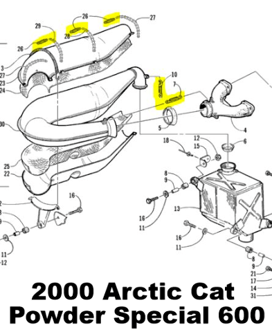 Snowmobile Exhaust Spring Replacement Kit for Arctic Cat