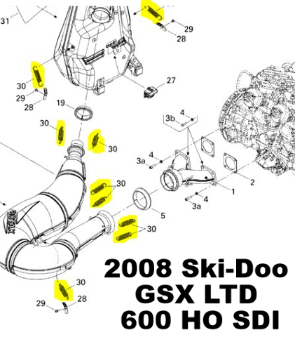 Ski-Doo GSX MX Z Summit X Snowmobile Exhaust Spring