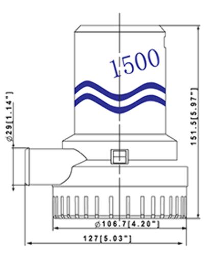 Bilge Pump 1500GPH 12V 8A 13.5' Head 1