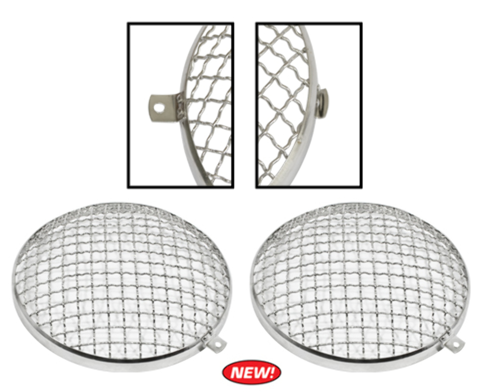 Stainless Steel Headlight Stone Guard, Pair ~ VW T-1 67-79
