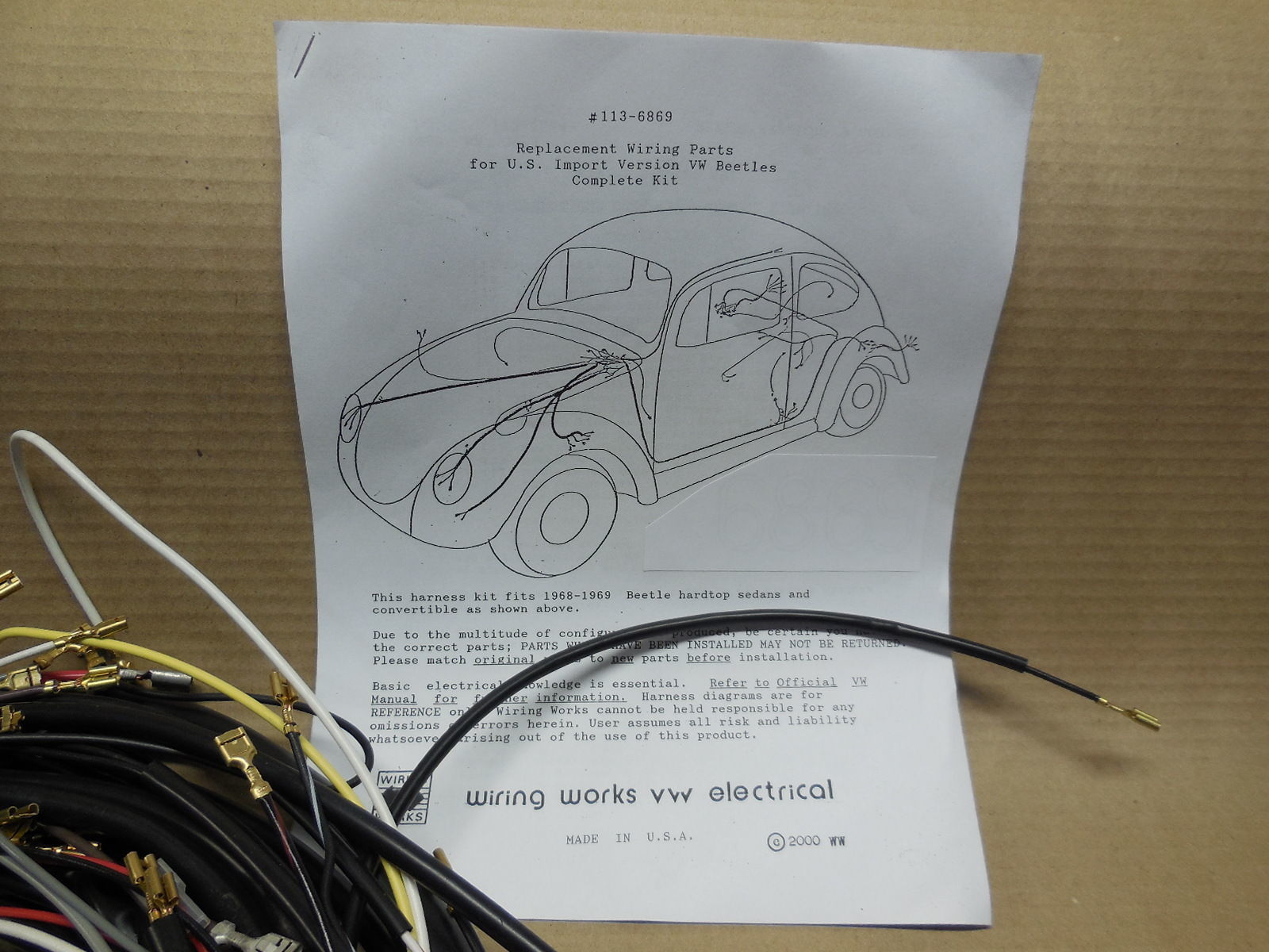 hight resolution of 1967 all karmann ghia vw complete wiring works wire harness kit usa