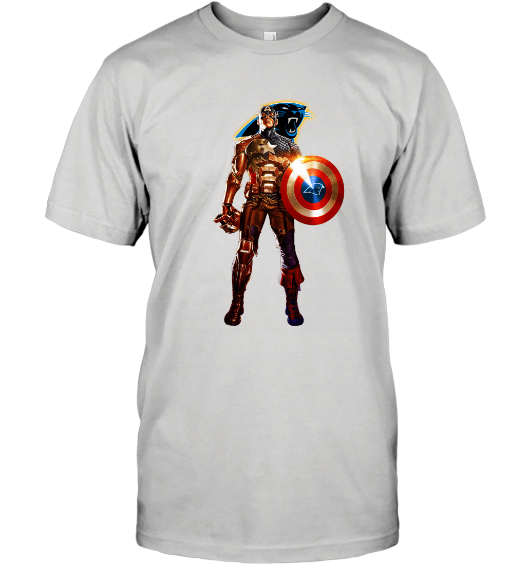NFL Captain America Marvel Avengers Endgame Football Sports Carolina Panthers T-Shirt