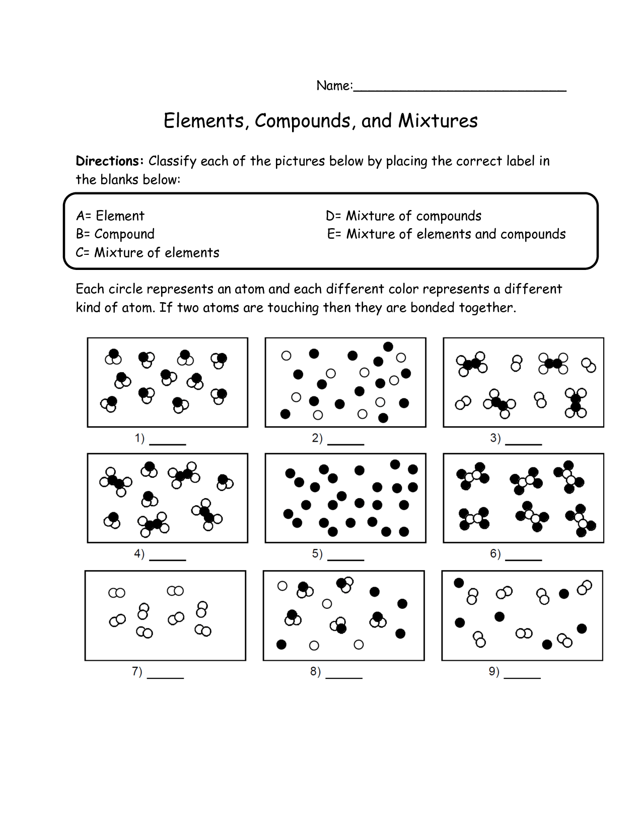 Separating Mixtures Worksheet