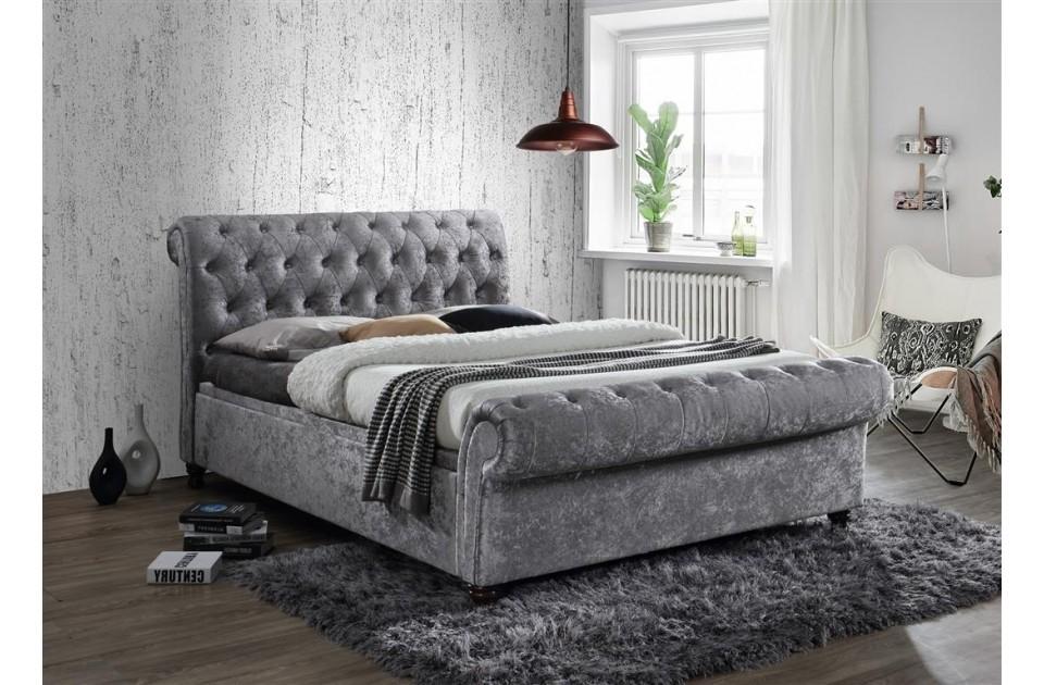 Castellano Steel Velour King Size Ottoman Storage Bed