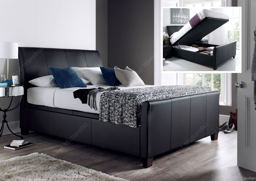 allen black leather double ottoman storage bed frame