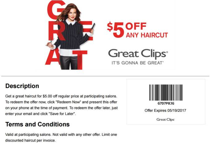 great clips coupons - $5 off a haircut at great clips
