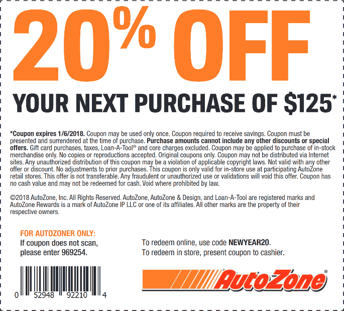 AutoZone Coupons  20 off 125 at AutoZone or online via promo code NEWYEAR20