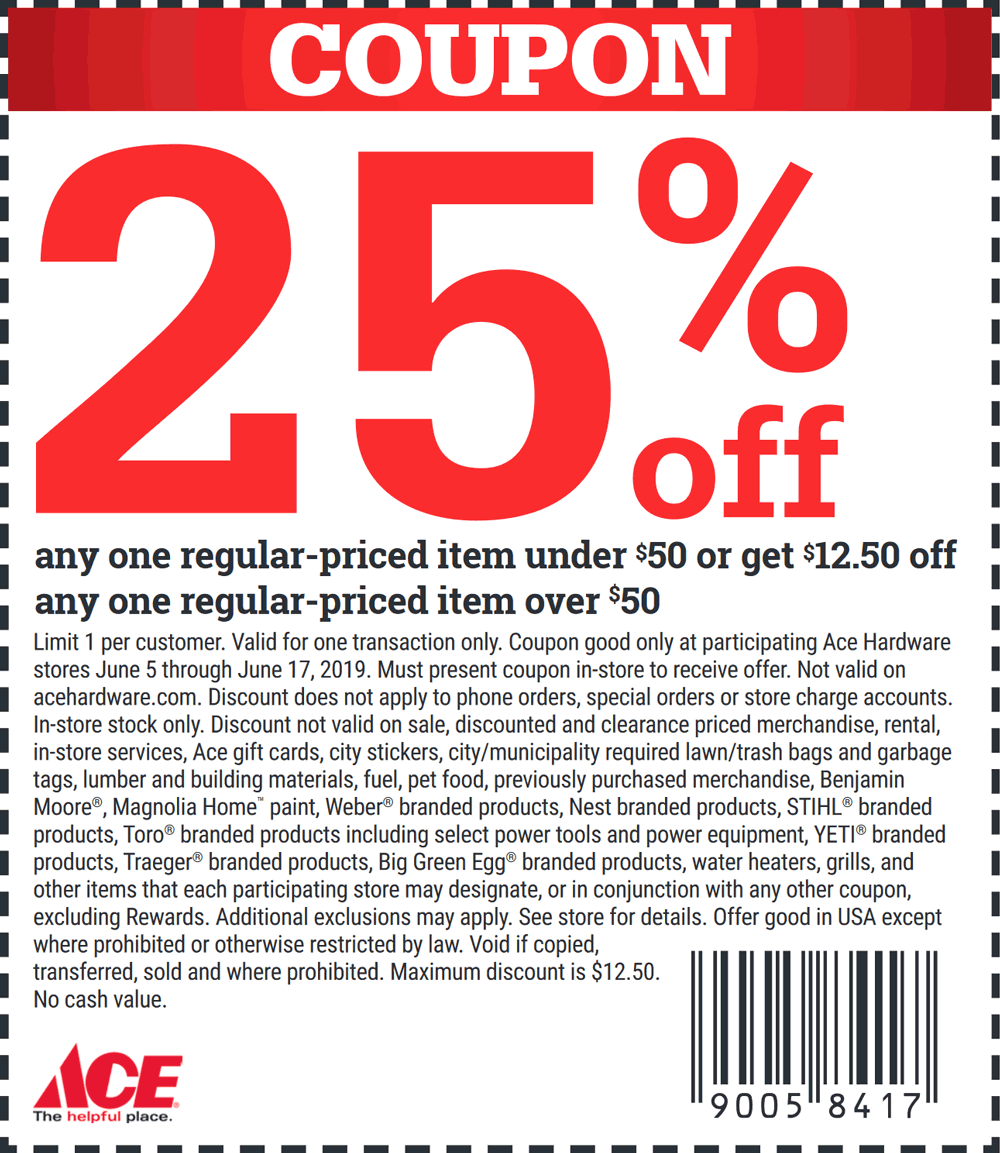 medium resolution of ace hardware coupon june 2019 25 off a single item at ace hardware