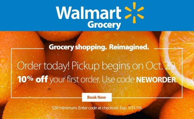 Walmart Grocery Coupons 10 Off Store Pickup Of First