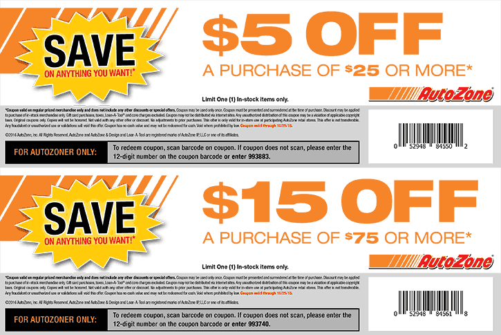 AutoZone Coupons  25 off 75 at AutoZone all month
