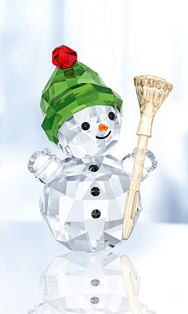 Swarovski Crystal Snowman With Broom Stick Figurine