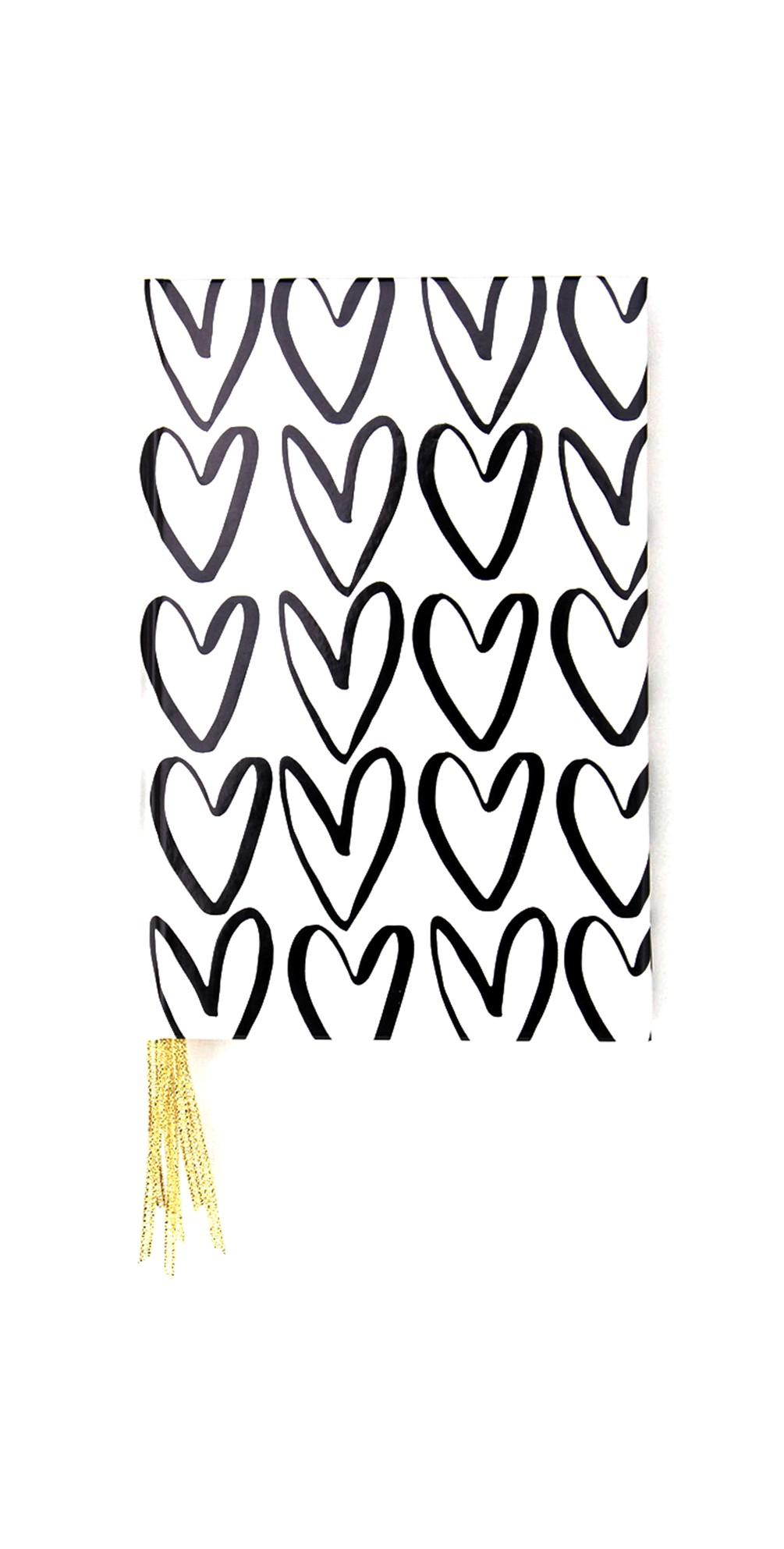 Caroline Gardner Outline Hearts Multi Ribbon Journal