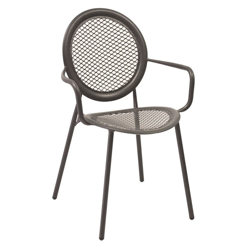 emu 3397 Stacking Arm Chair w Steel Mesh Back  Seat