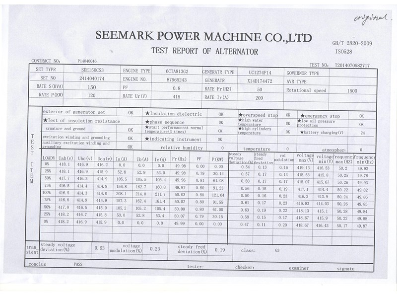 SEEMARK SDE150CS3 150KVA for sale