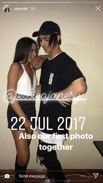 Seyat posted a throwback of their very first couple photo from July 2017. (Source: Instagram @seyatski)
