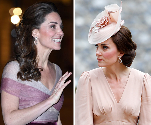 Duchess Catherine wore the same earrings she wore to sister Pippa's wedding. (Images: Getty)