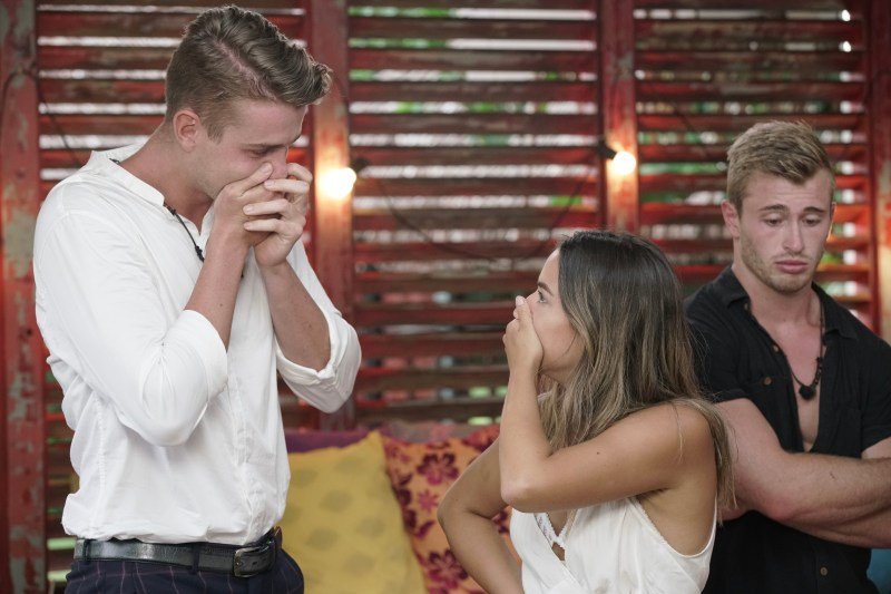 Harry and Georgia discovering they'd won Heartbreak Island.