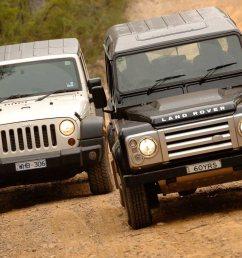 2009 land rover defender svx vs jeep wrangler unlimited 4x4 comparison review [ 1422 x 948 Pixel ]