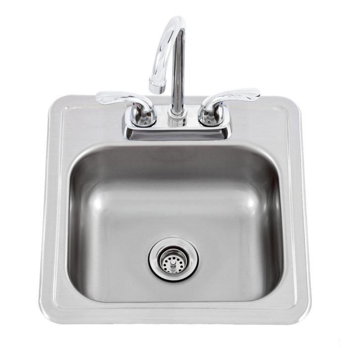 lion 54167 stainless steel bar sink with faucet 15x15 inches