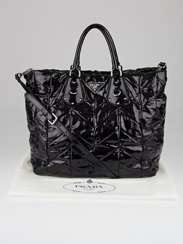 Prada Black Patent Leather Chevron Quilted Large Tote Bag