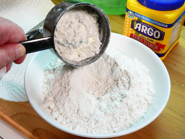 To make the Cake Flour, add the corn starch to the flour. I then took a fork and mixed it up a bit.
