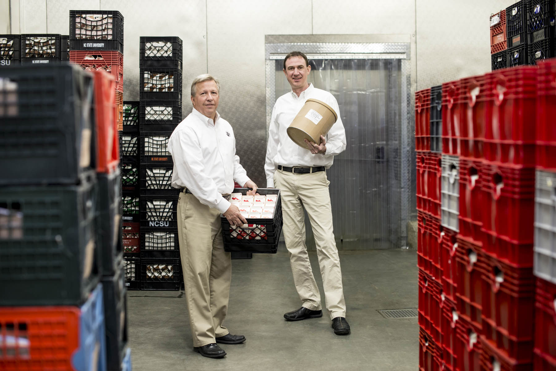 After the milk is collected and processed, Gary Cartwright and Carl Hollifield oversee its sale on campus.