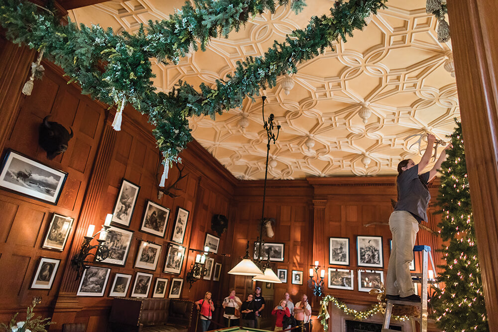 the biltmore design team hangs 7500 feet of garland during the season the lengths made from white pine and fraser fir are replaced weekly photograph by