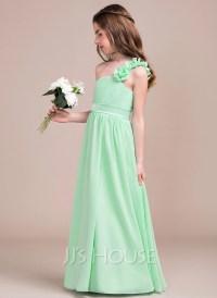 A-Line/Princess One-Shoulder Floor-Length Chiffon Junior ...