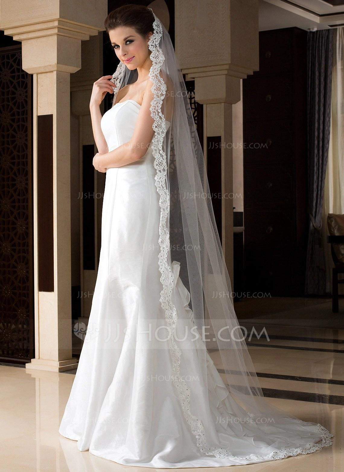 Onetier Chapel Bridal Veils With Lace Applique Edge