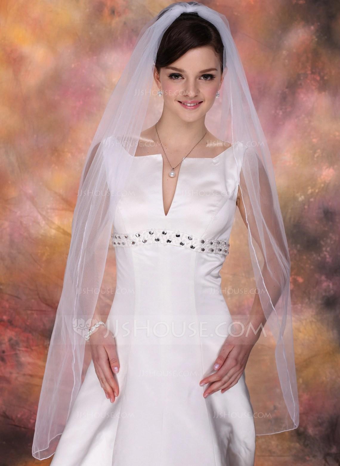 Onetier Waltz Bridal Veils With Pencil Edge 006020342
