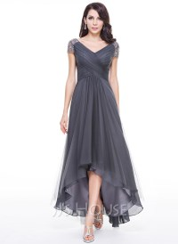 A-Line/Princess V-neck Asymmetrical Tulle Evening Dress ...