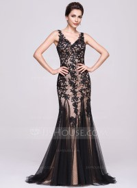 Trumpet/Mermaid V-neck Sweep Train Tulle Evening Dress ...