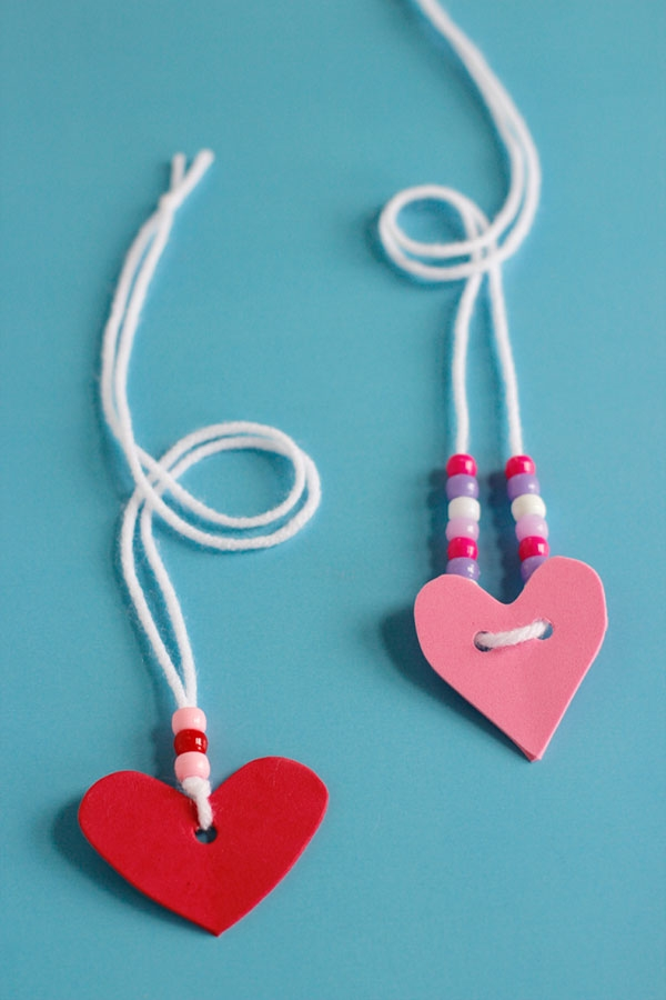 kids pretend kitchen lights for island craft valentine's day foam heart friendship necklaces ...