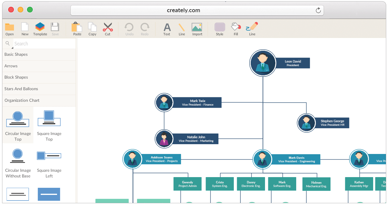 hight resolution of tools and templates to create organizational charts
