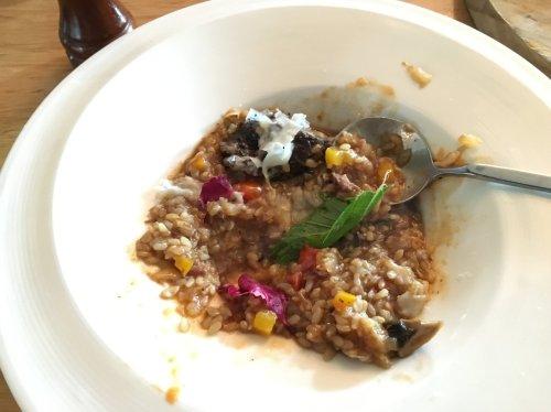 Beef Risotto made with Taiwan's Taitung (台東) Koshihikari brown rice (越光糙米).