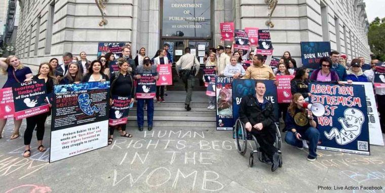 Les pro-vie protestent contre le prélèvement d'organes de fœtus avortés opéré par l'Université de Californie à San Francisco
