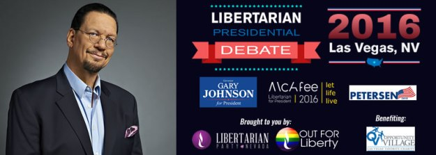 Penn Jillette hosts the Libertarian presidential debate
