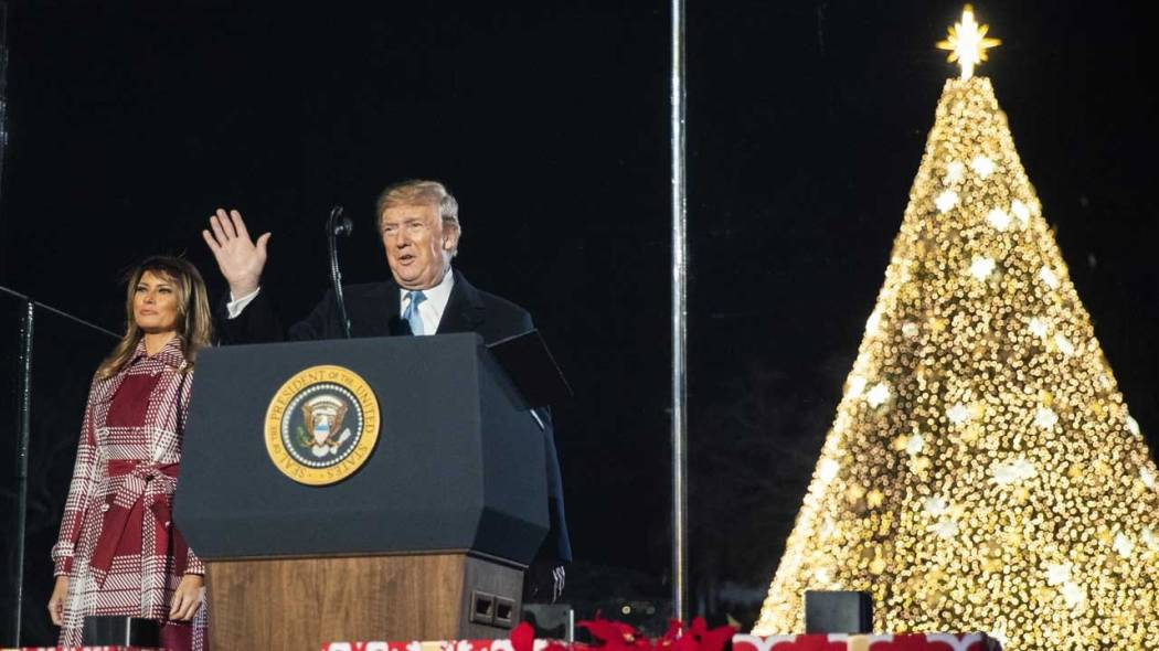 President Trump And First Lady Light The National Christmas Tree In Washington. D.C.