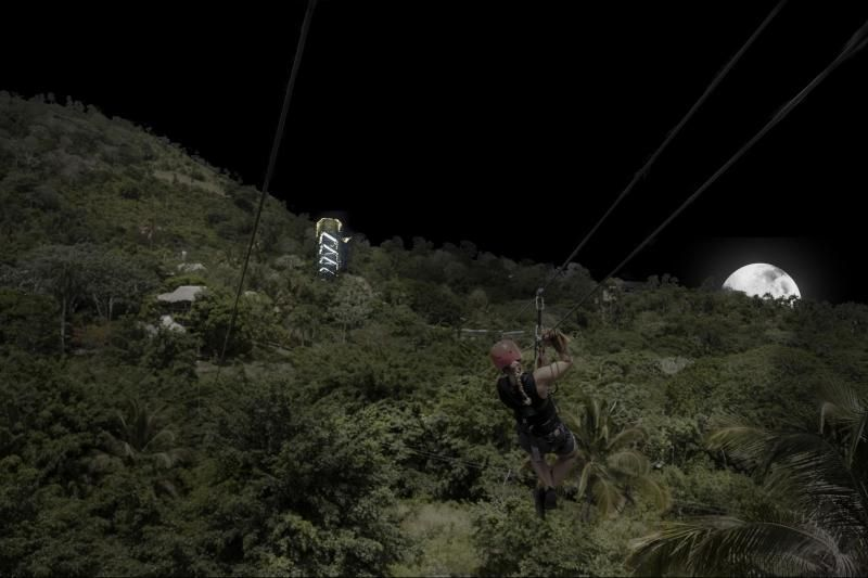 Zip Lines at Night from Bayahibe