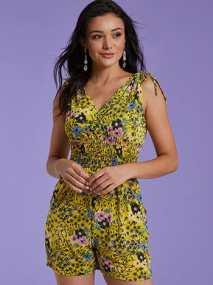 Floral ολόσωμη φόρμα με σφηκοφωλιά SG9846.1022+1