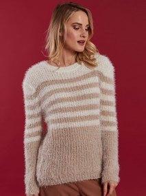 Χνουδωτό πουλόβερ με ρίγες WE1639.9923+4
