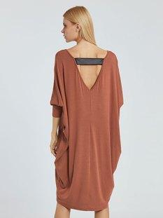 Φόρεμα με λεπτομέρεια δερματίνης στην πλάτη WE8534.8001+1