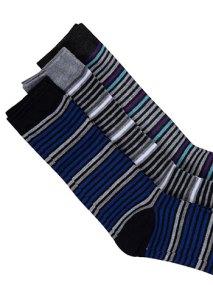 Σετ με 3 ζευγάρια ανδρικές ριγέ κάλτσες WE9869.0232+3