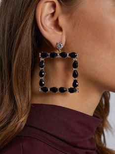 Τετράγωνα σκουλαρίκια με διακοσμητικές πέτρες WE9874.A013+2