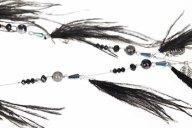 Μακρύ κολιέ με χάντρες και φτερά WL1615.A503+1
