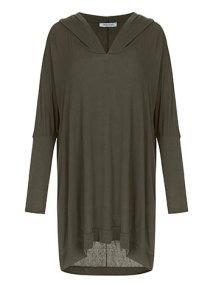 Plus size μακριά μπλούζα με κουκούλα WL4828.4001+3