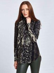 Πλεκτή ζιβάγκο μπλούζα σε animal print WL4867.4001+2