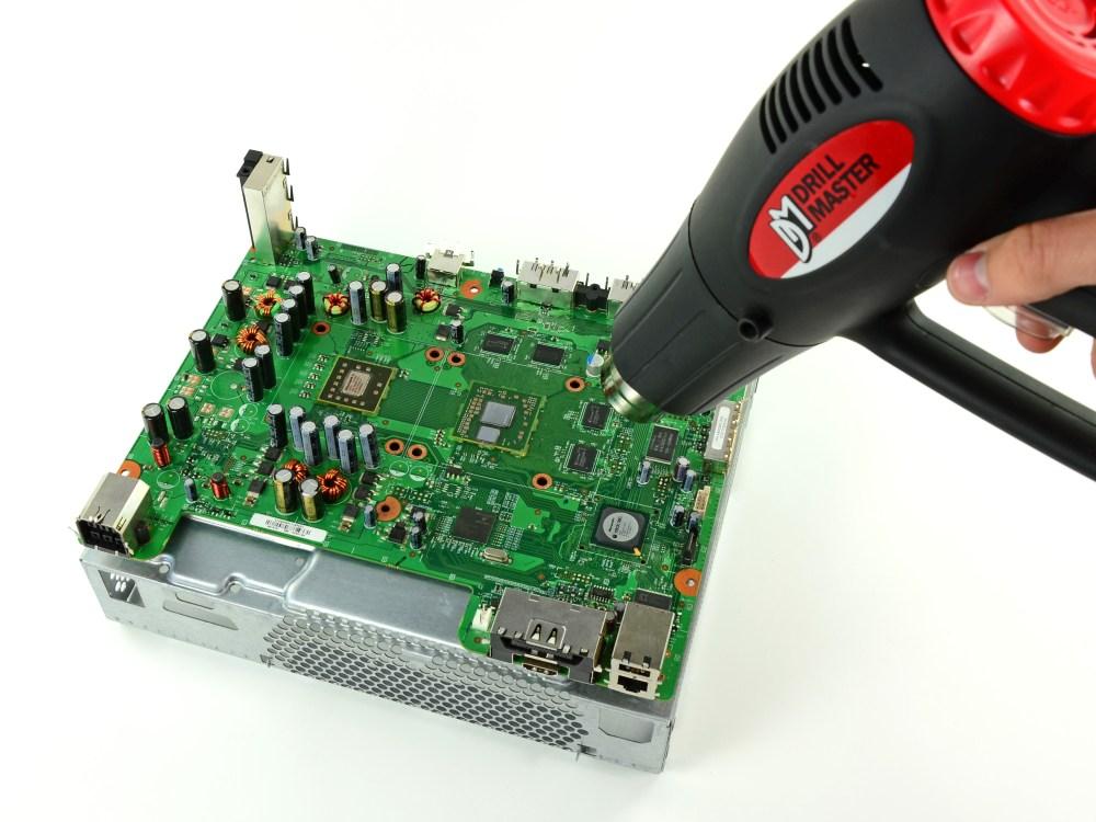 medium resolution of reflowing xbox 360 motherboard