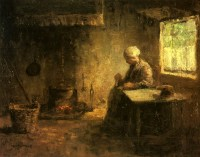 Peasant Woman By A Hearth Painting | Jozef Israels Oil ...
