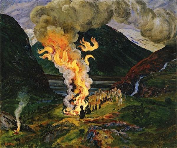 Midsummer Eve Bonfire Painting Nicolai Astrup Oil Paintings